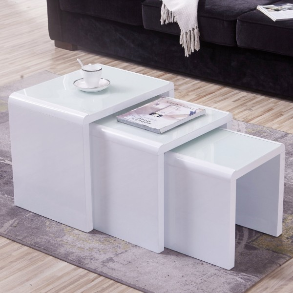 3 Piece Nesting MDF+Tempered Glass Side Table