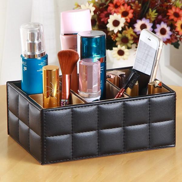 Multi-functional PU Leather Storage Box/Desk Organizer/Remote Holder
