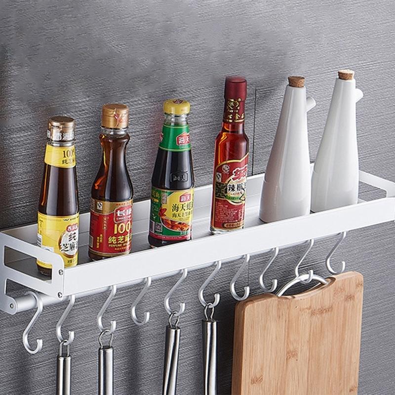 Wall Mounted Aluminium Floating Shelf with Hooks